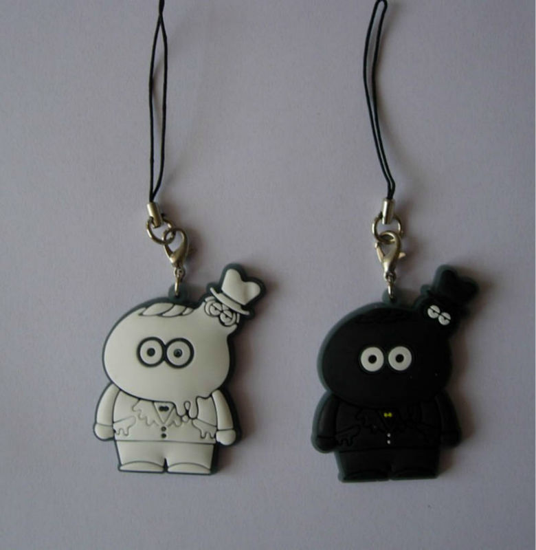 Black and white couple cute soft pvc little doll phone charm