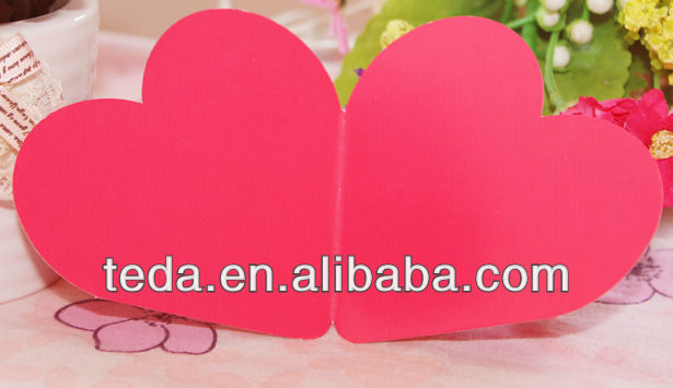 2014Teda Double Hearts Die cut Greeting Place cards