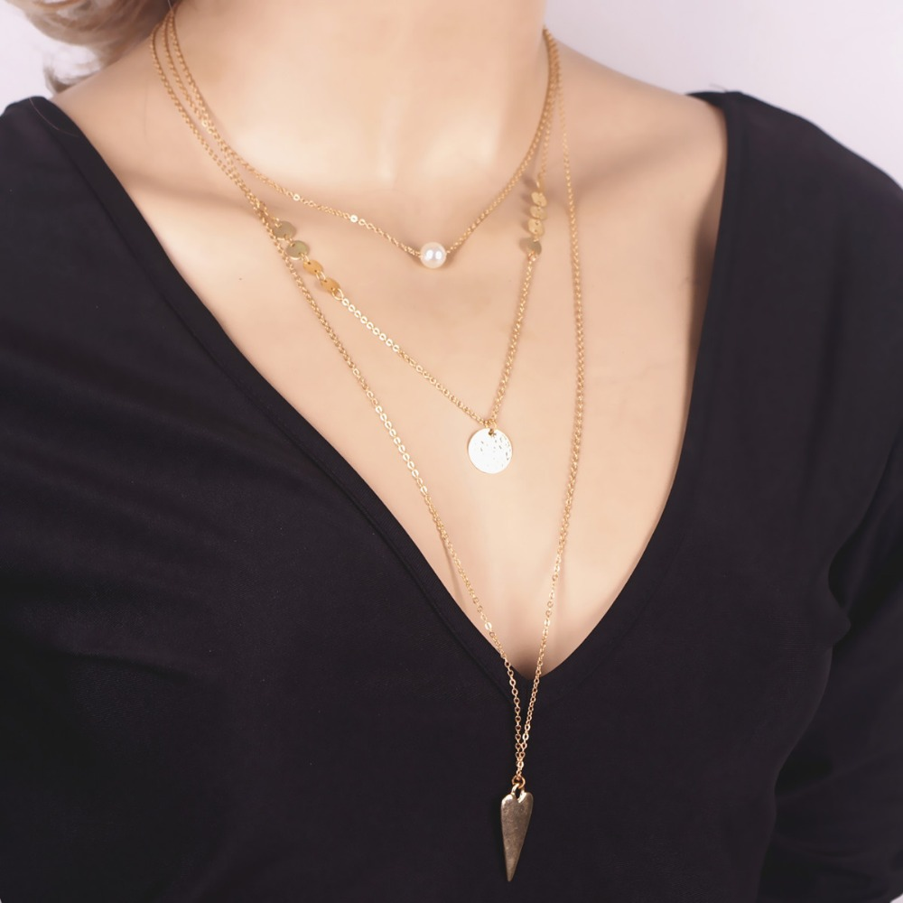 Fashion pearl copper women necklace multilayer clavicle chain