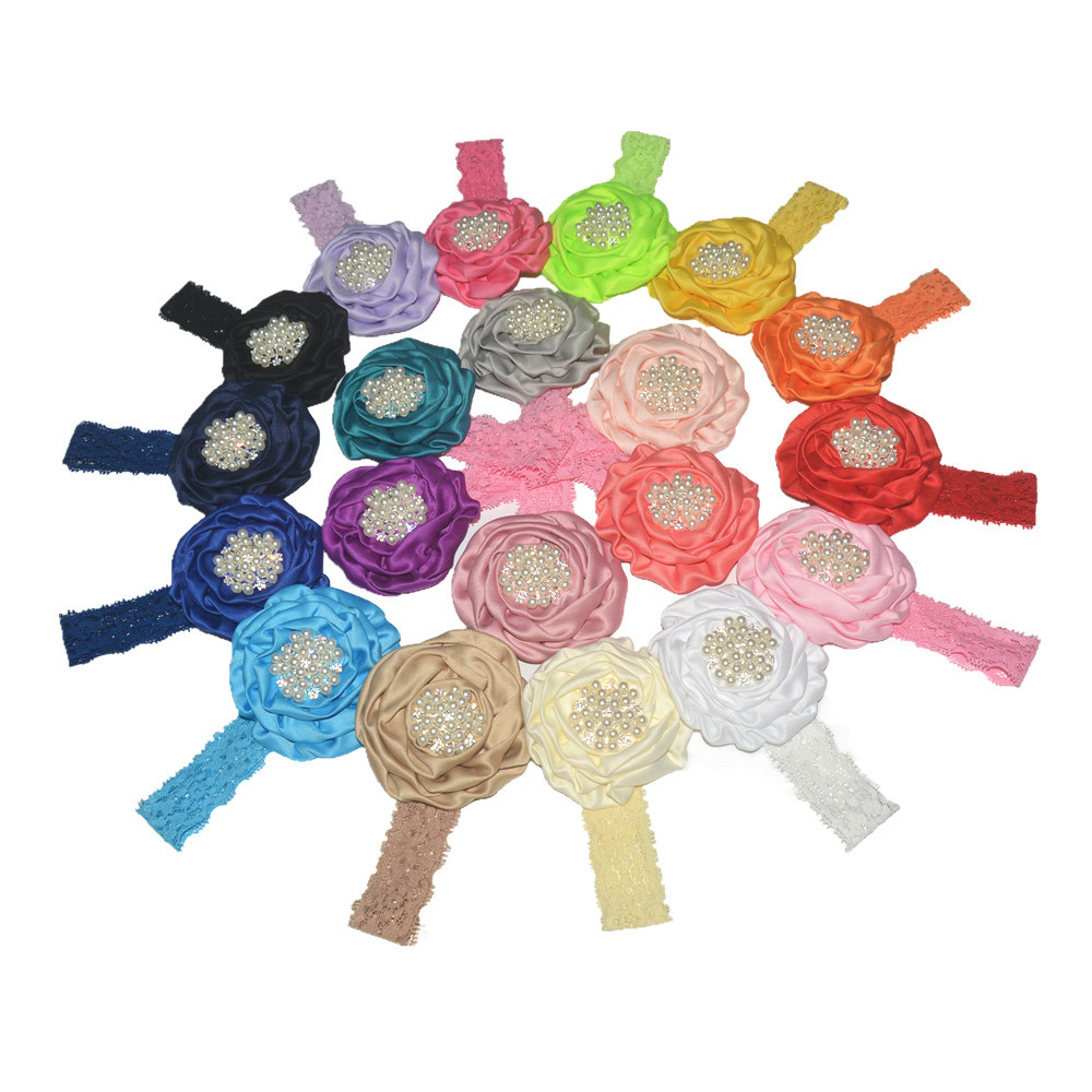 Satin rose buds with pearl stones children lace hair bands 20 colors
