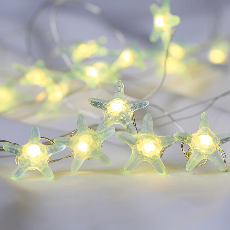 ROPIO starfish christmas led copper wire string fairy lights