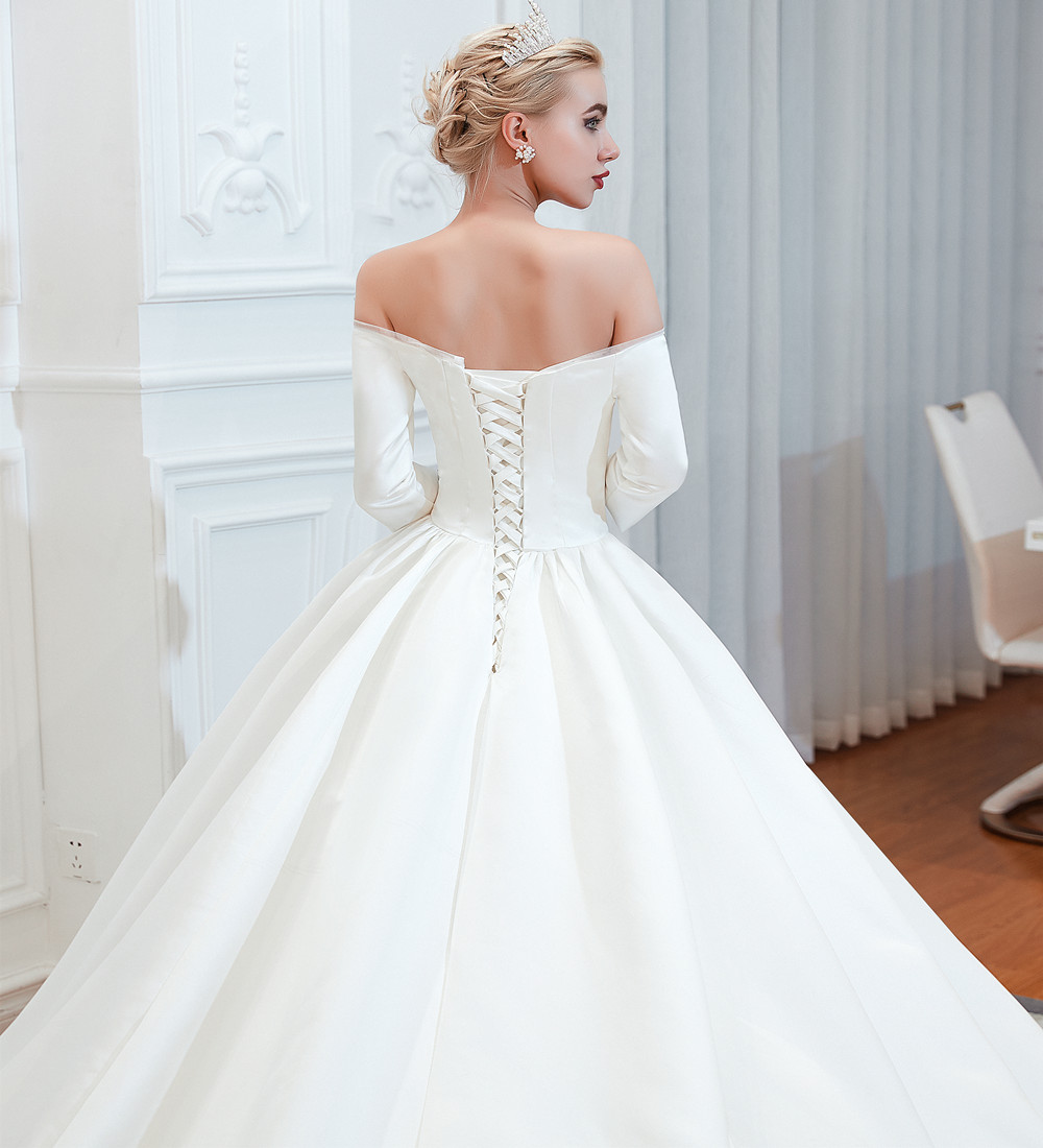Stain Wedding Gowns Simple Bridal Dresses Ball Gowns Wedding Dresses 2019 White Africa Bridal Gowns Cheap Wedding Dresses L39353