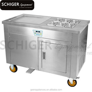 1 Square Pan Scroll Ice Cream Making Machine With Temperature Control and Keep Fresh System