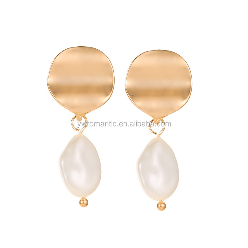 Fashion new cheap simple wave mirror metal circle charm with pearl drop earrings korean style wholesale