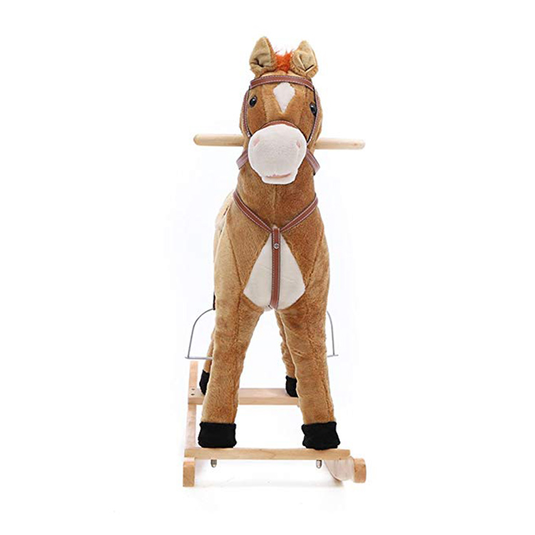 High quality cute popular plush animal rocking horse toy