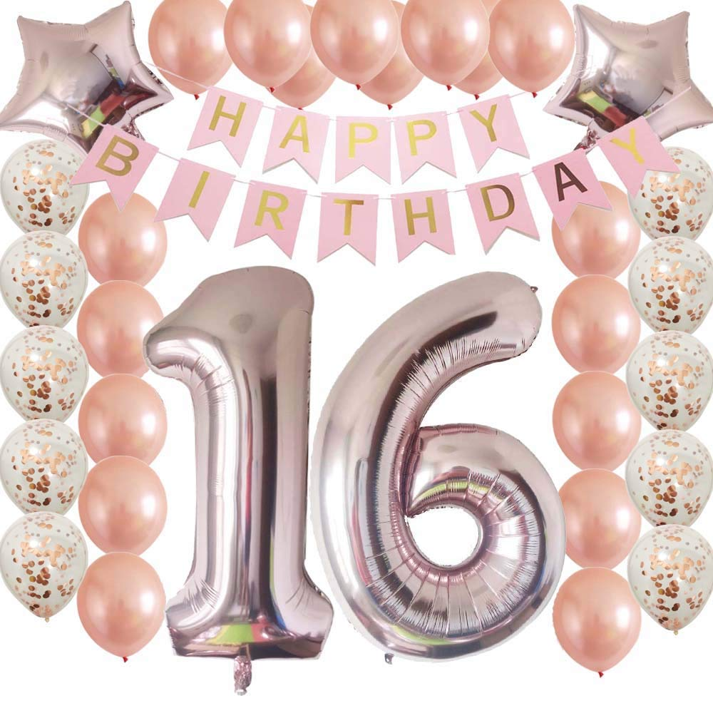 Sweet16th Birthday Decorations Party Supplies Set Rose Gold Confetti Latex Balloons Happy 16th Banner