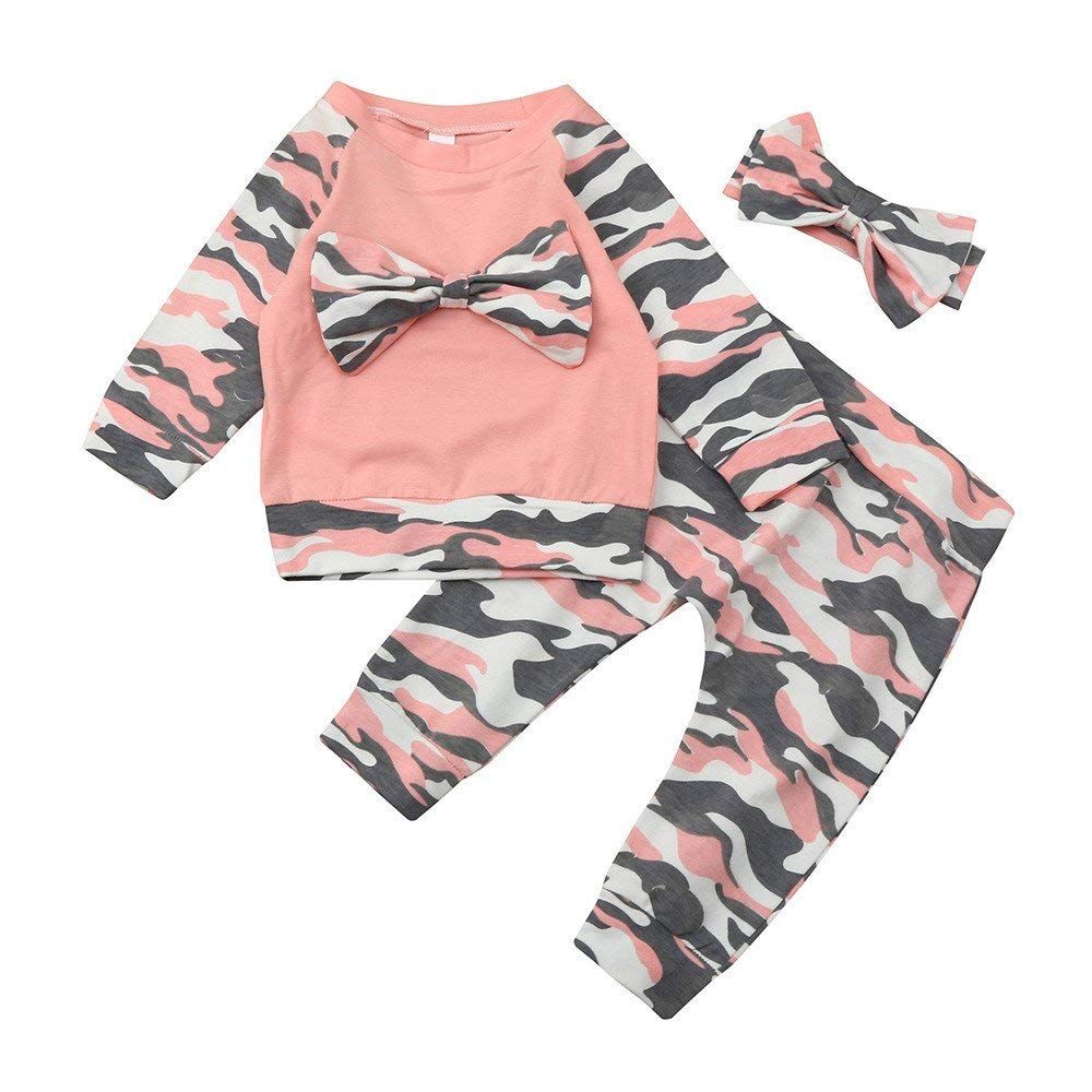 ❤️Mealeaf❤️ Newborn Toddler Baby Girls Boys Camouflage Bow Tops Pants Outfits Set Clothes (18-24 Months Old, Pink)