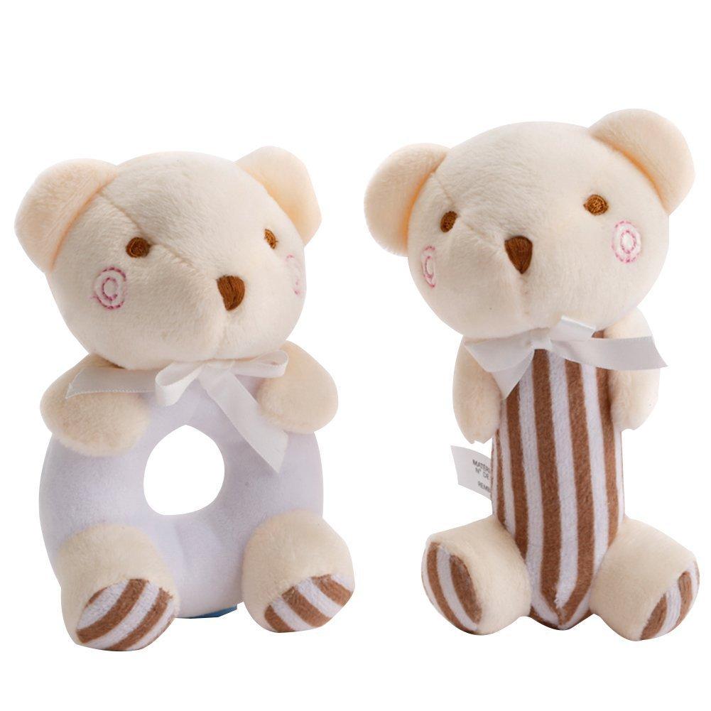 Daisy Infant Baby Soft Plush Animal Rattle Toy Set Early Educational Sensory Activity Grasping Bear Rattle, Baby Shower Gift Set