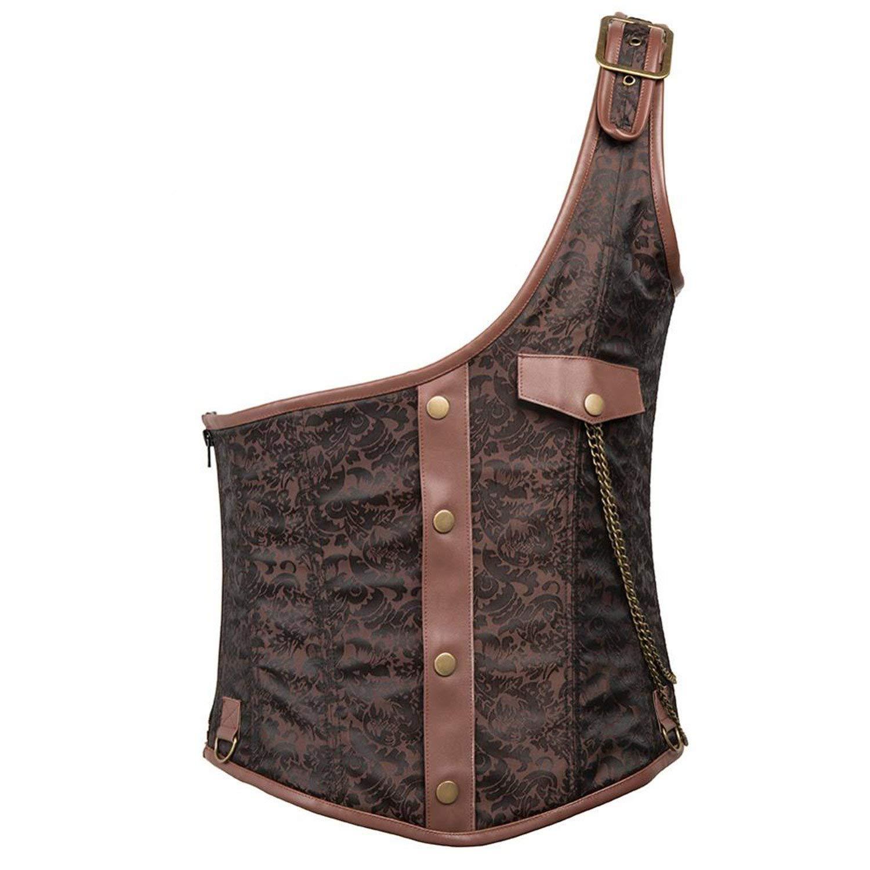 Drawingo Men Brocade Buckled Steel Boned Steampunk Corset Vest Waistcoats Jacket