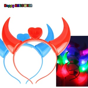 Wholesale Christmas Halloween Glowing Ox Horns Toys Children Dress Up Shine Led Headband Toys