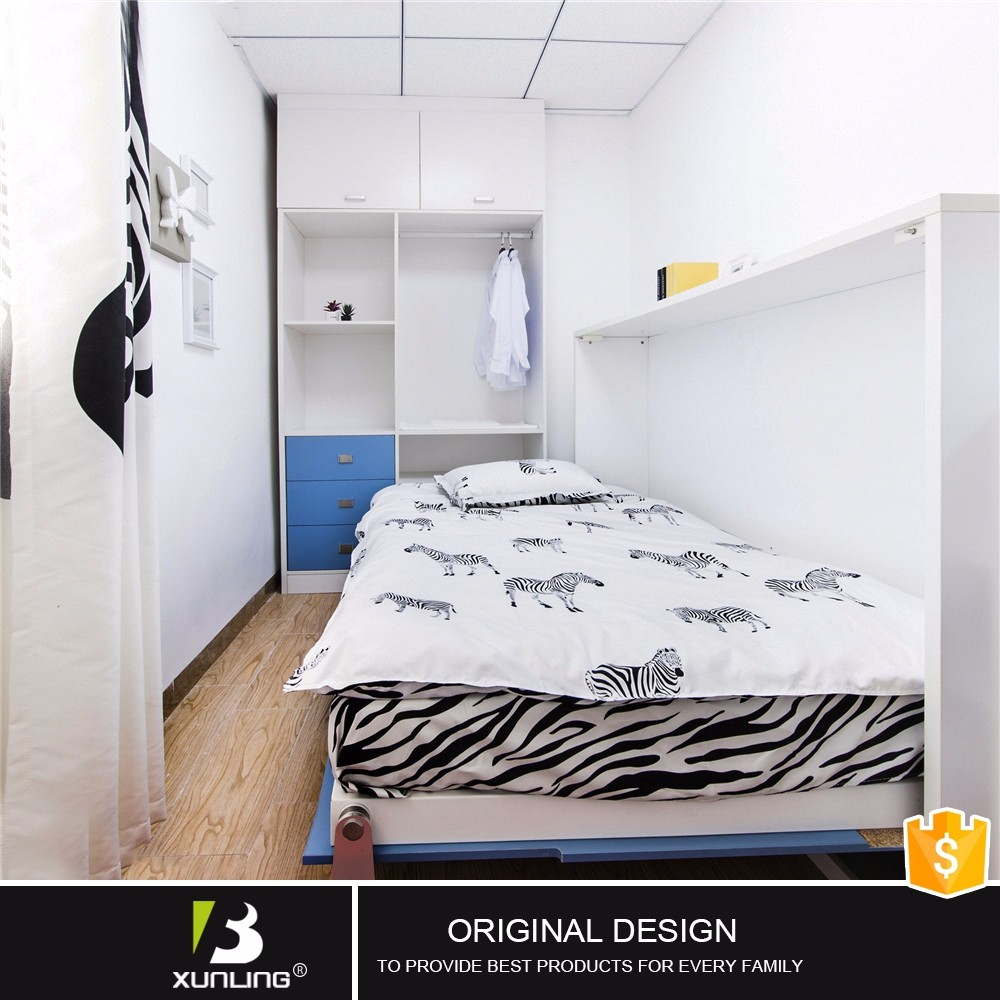 Horizontal Melamine Borad Side Bed Wall Folding Single Bed
