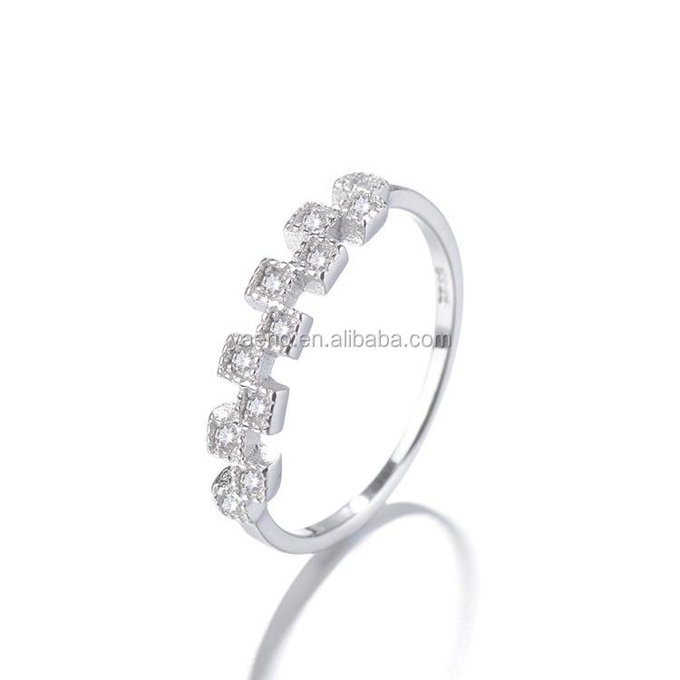 Wholesale Simple Design Cubic Zirconia Women 925 Silver Ring