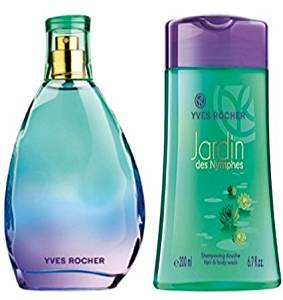 Yves Rocher Jardin des Nymphes Eau de Toilette 3-piece Gift Set: Jardin des Nymphes Eau de Toilette, 75 ml & Body Shower, 200 ml. & Yellow Gold Over Brass Cubic Zirconia Diamond Clear Bangle. VERY LIMITED EDITION.