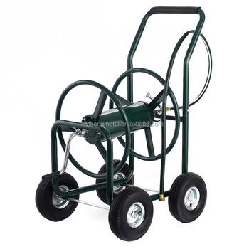 Steel Metal Four Wheel Garden Hose Reel Cart Small Garden Cart Rolling  Garden Cart