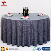 Custom Round Jacquard Wedding Table Cloth Exhibition Table Cover