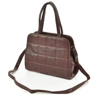 Square shape white stitching Elegence Chocolate Soft PU tote bag with Hair ball pendant