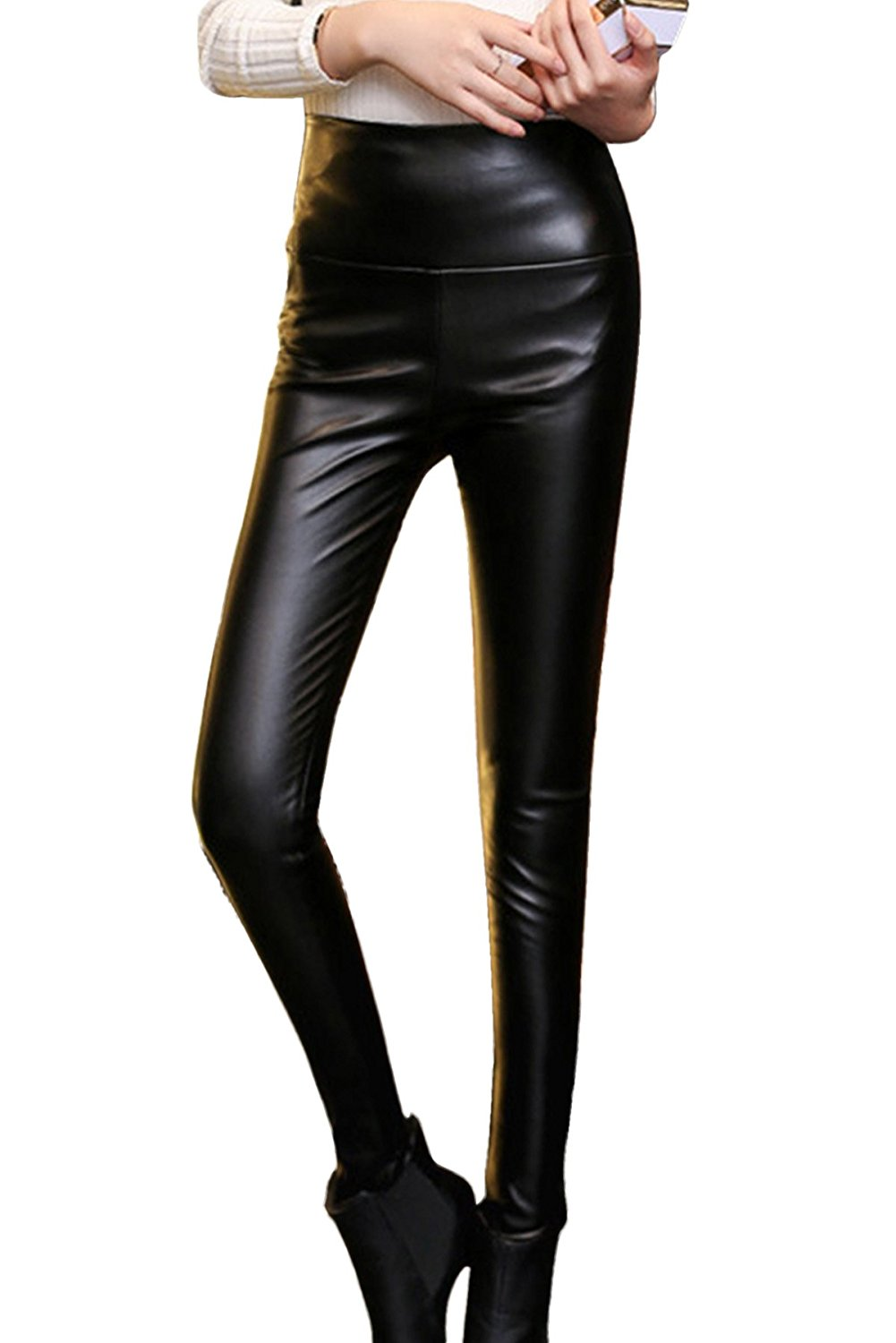 a0d7c17be5ed9d Get Quotations · Women's PU Leather Leggings Stretch High Waisted Pencil  Pants Skinny Legging Pants Black