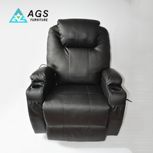 American Style Black Single Swivel Recliner Massage Modern Leather Sofa