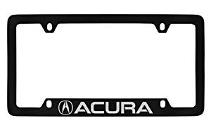 Acura Logo & Wordmark License Plate Frame Holder (4 Hole / Brass, Black / Bottom)