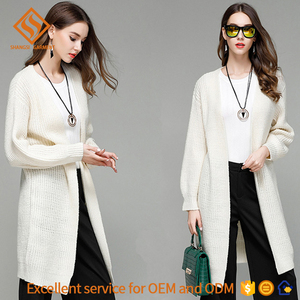 Women clothes , 2017 winter long sleeve knitting pure-color cardigan sweater coat