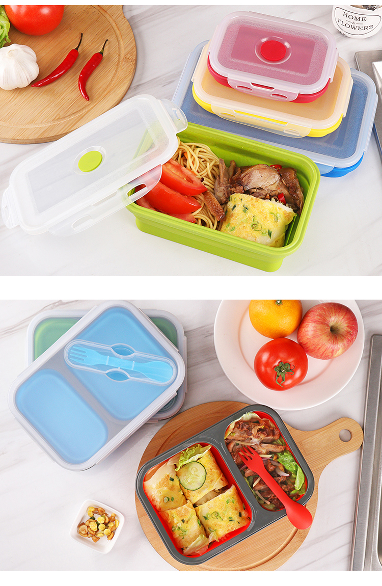 LFGB Approved Children's kids lunch box Japanese bento Collapsible Silicone Lunch Box Set