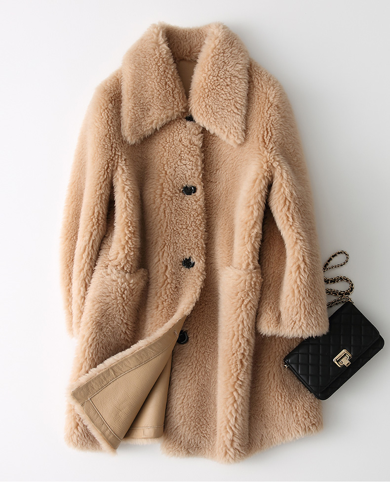 Women Warm Long Plus Size Real Sheep Shearling Leather Fur Coat in Winter