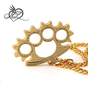 Men 18k real gold plated brass knuckles pendant necklacecz inlay men 18k real gold plated brass knuckles pendant necklacecz inlaywith cuban hip aloadofball Image collections