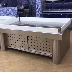 Dingfeng customized supermarket sliding door stainless steel frozen fish seafood display table ice case