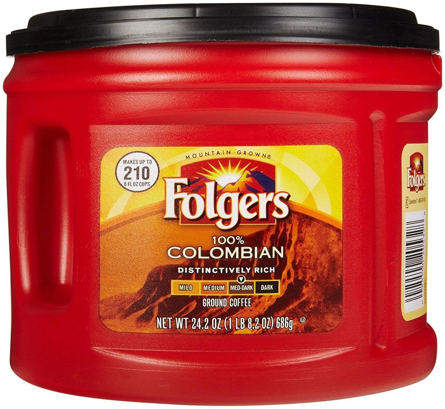 Folgers 100% Colombian Ground Coffee, Medium Dark Roast, 24.2 Ounce (Pack of 4)