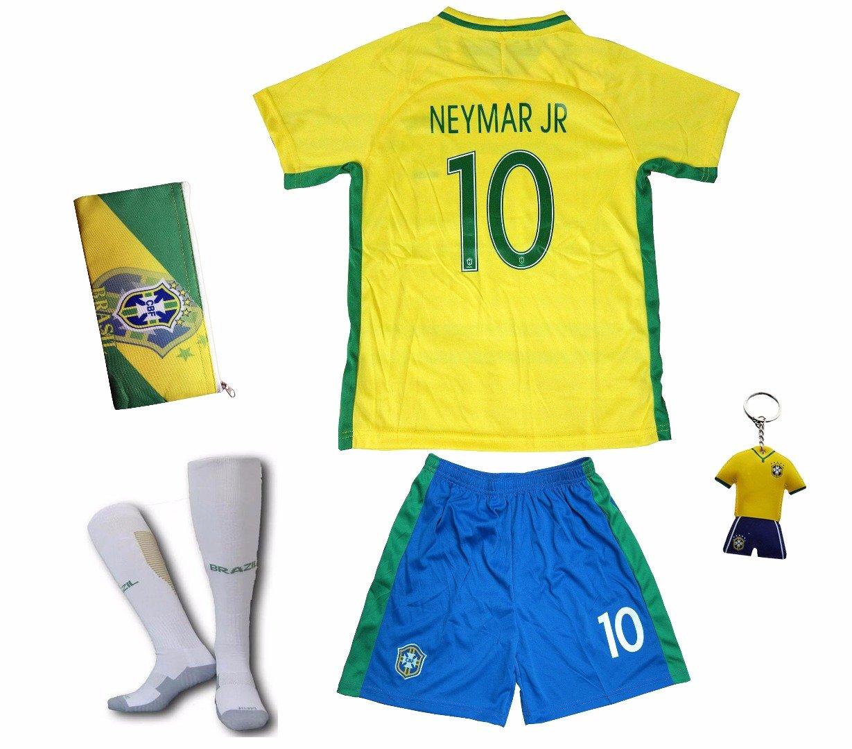 ea754e1318b Get Quotations · KID BOX 2018 FWC Brazil  10 NEYMAR JR. Kids Home Soccer  Jersey   Shorts