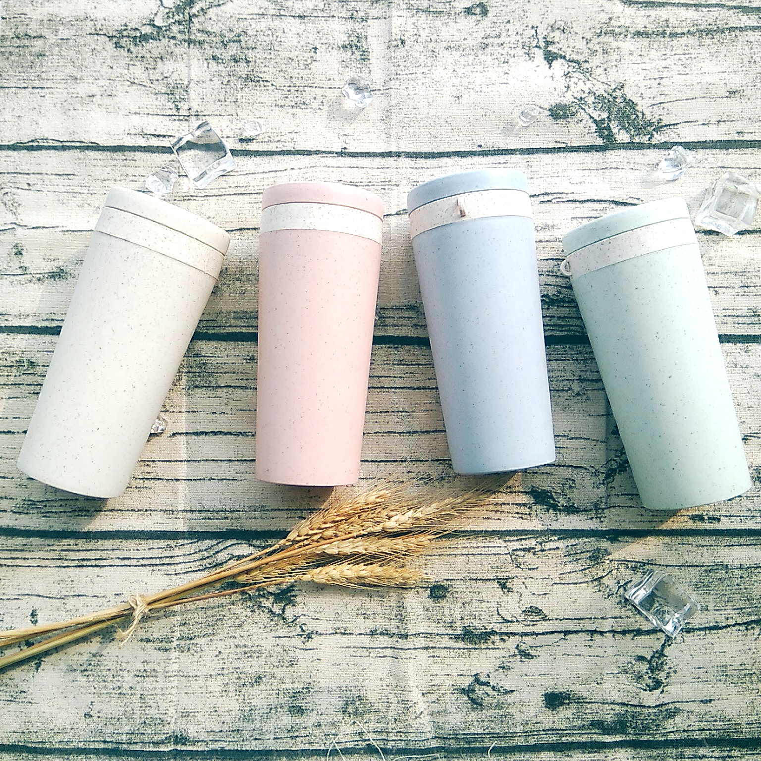 400 ML Biodegradable Cup Straw Double-layer Fiber Student Creative Healthy Wheat Plastic Sport Water Bottle