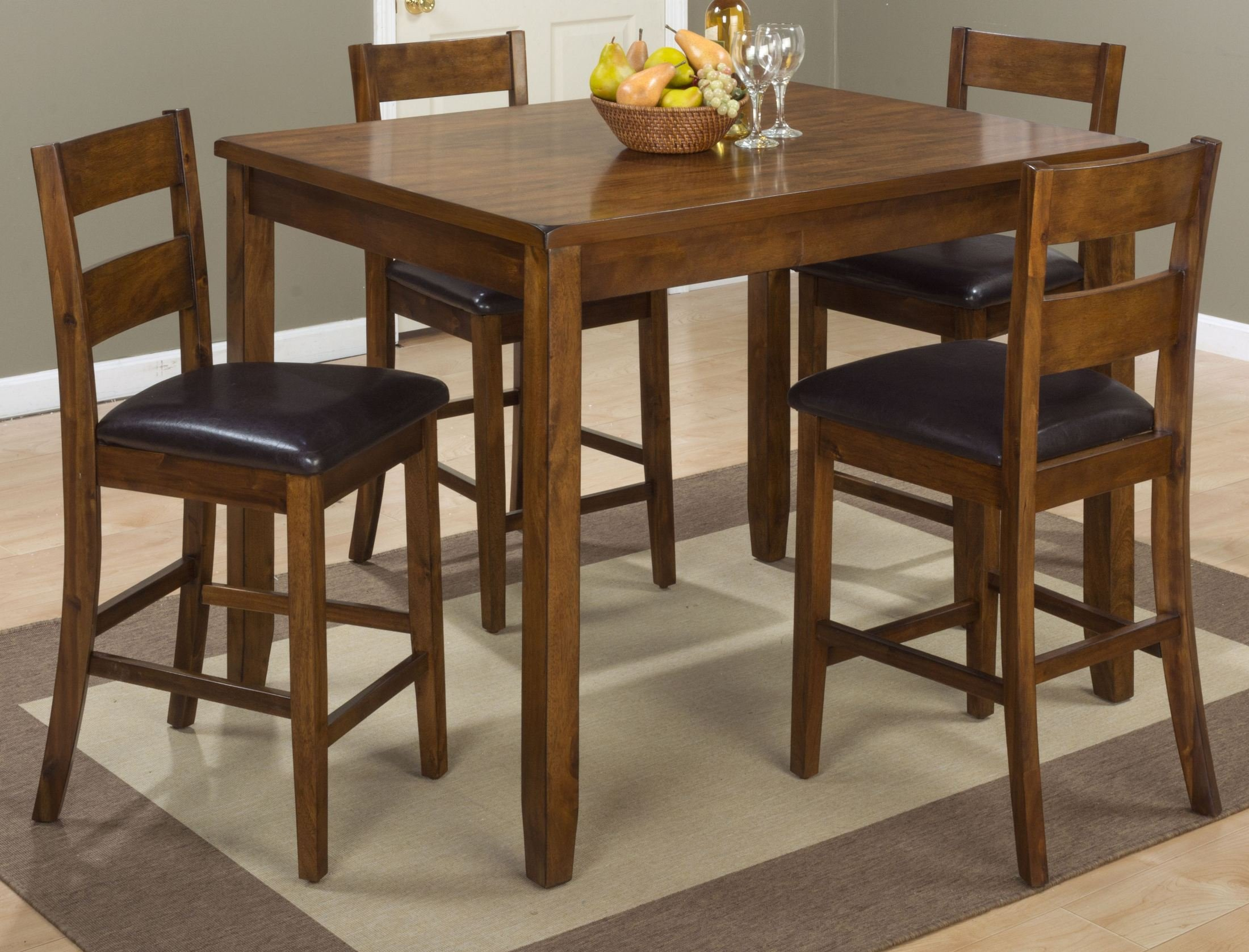 "Jofran: 592, Rustic Prairie, 5 Pack Counter Height Set, Counter Height Table, 36""W X 48""D X 36""H, Barstool, 17""W X 18.5""D X 40""H, Plantation Mango Finish, (Set of 1)"