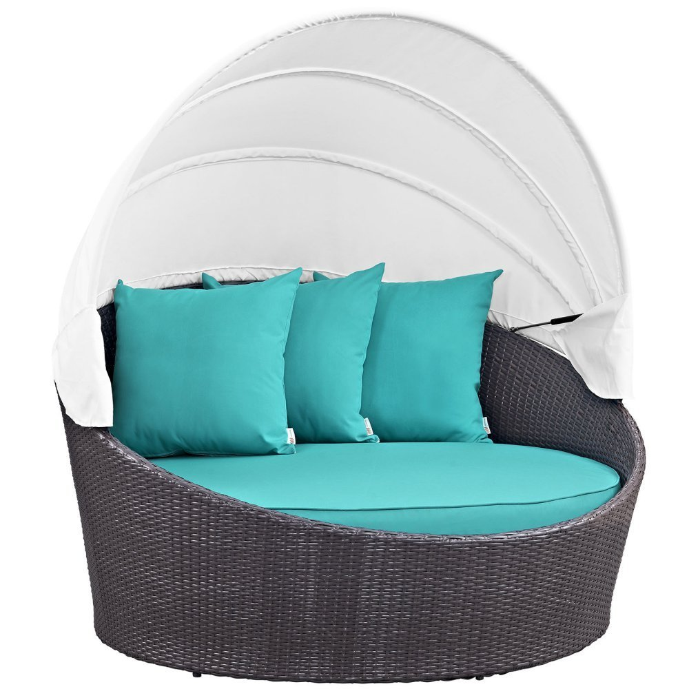 Modway Convene Wicker Rattan Outdoor Patio Canopy Daybed in Espresso Turquoise