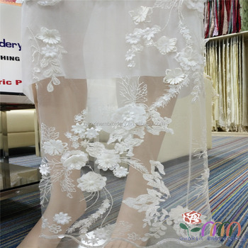 Off white 3D lace fabric africa lace french lace- bride lace wedding lace eveing lace with flowers