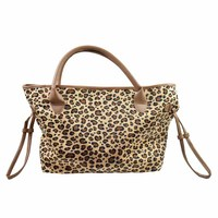 Wholesale 2019 newest leopard travel bag fashion duffel leopard and plaid print monogram zipper leather weekender tote bag