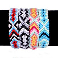 zooying Boho Style Nepalese Handmade Woven Rope Colorful Cotton Knitted Friendship Bracelet For Women Men