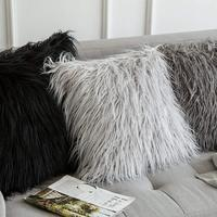 60 x 60 cm Decorative New Luxury Series Style Light Gery Faux Fur Throw Pillow Case Cushion Cover for Sofa Bedroom