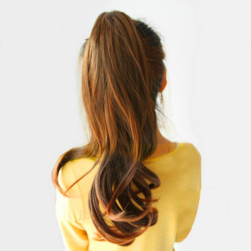 Free Shipping Faux Long Curly Lady Girl Wavy Ponytail Wigs Hair Hairpiece Extension Flaxen GUB#