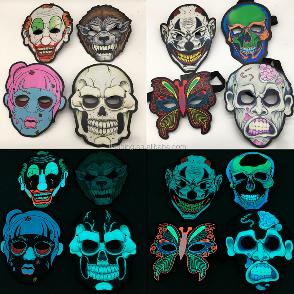 Hot selling high quality EL Panel Mask For Party,Halloween, Blacklight Run,Advertisement,DJ,Club,Christmas