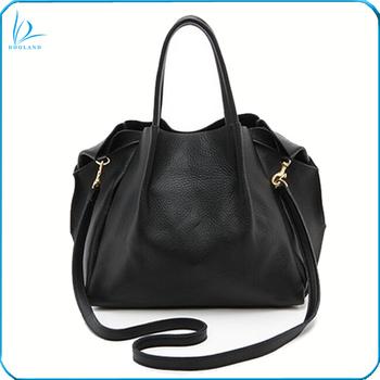 Burnished Hardware Slouchy Unlined Women Soft Genuine Leather Handbag Tote Bag