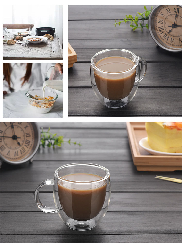 Pyrex Heat Resistant Borosilicate Glass Cup With Handle Hand Blown Glass Coffee Tea Cup Private Label Double Wall Glass Cup