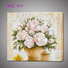 Pure hand-painted pink rose oil painting on canvas flower