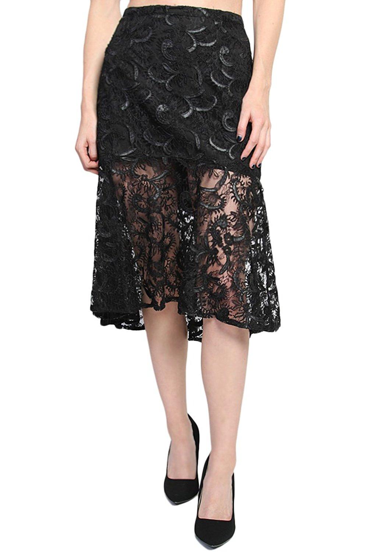 69295ebf25f Get Quotations · TheMogan Women s Embroidered Lace Pencil Flared Ruffle Hem  Midi Skirt