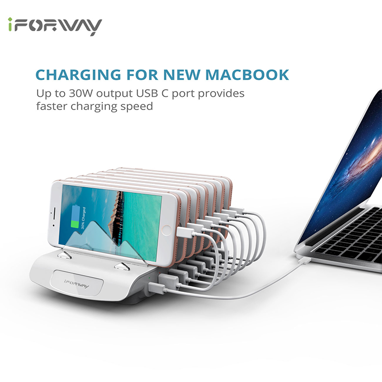iFORWAY 8 ports Multiple USB Charger Station Organizer for Smartphones Tablets Digital Gadgets Charging Station Dock