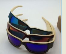 Handmade CE & FDA approval polarized big frame bamboo shade Skiing sunglass bamboo wood sunglasses new trendy goggles