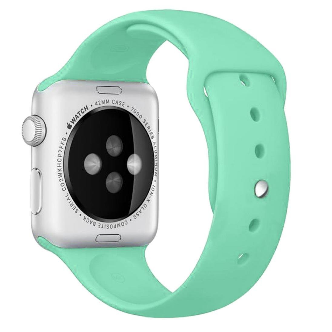 For Apple Watch Band , HP95(TM) Sports Silicone Bracelet Strap Band for Apple Watch 38mm/ 42mm all Model, Replacement, Adjustable Watch Band (42mm, Green)