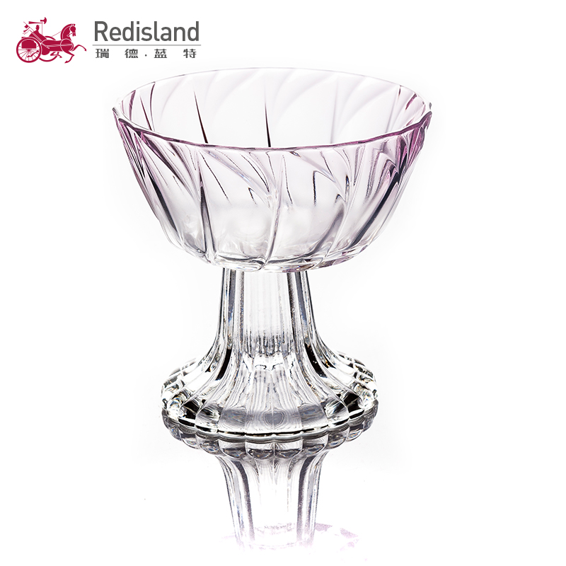 Classic European style old fashion glass salad bowl with base stand exquisite pattern