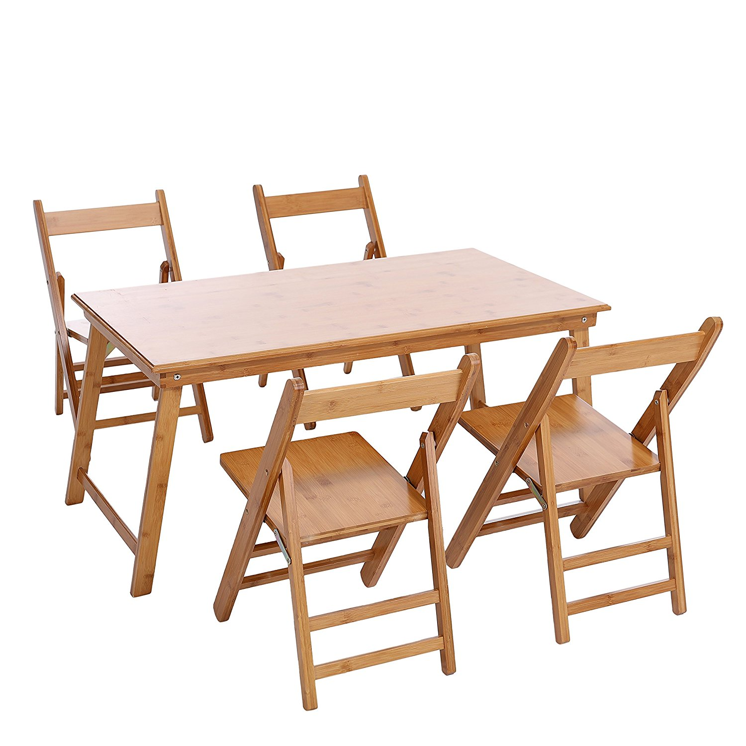 Pleasing Buy Unicoo Bamboo Rectangular Folding Table With 4 Folding Machost Co Dining Chair Design Ideas Machostcouk