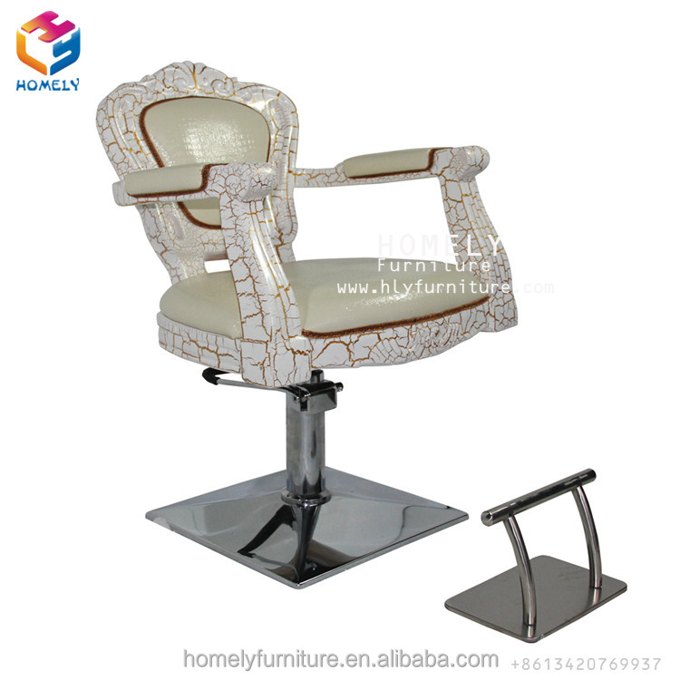 Royal Upholstered Seat Adjustable Rotate Stainless Steel Base Wooden Styling Chair Old Design Barber Chair With Factory Price