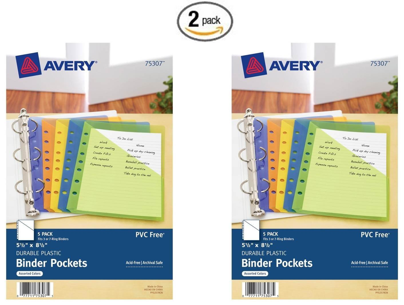 Avery Mini Binder Pockets, Fits 3-Ring and 7-Ring Binders, Assorted, Pack of 5 (75307) (2 Pack)